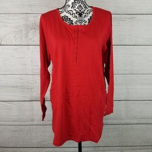 NWOT Red Long Sleeve Top with Buttons at the Chest